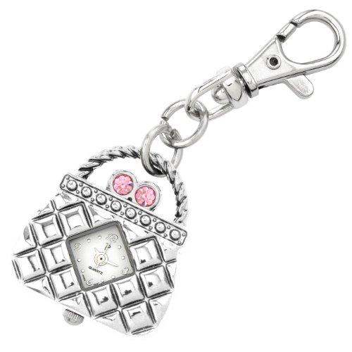 JAS Unisex Novelty Belt Fob/Keychain Watch Pink Purse Silver Tone