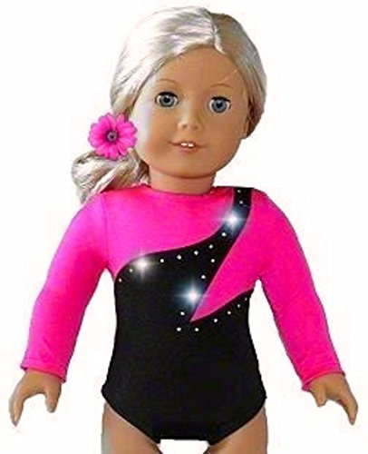 Fits American Girl 18 inch Dolls | Hot Pink Olympic Gymnastics Outfit Leotard and Hair Accessory | (2 Piece Set) by Doll Connections Valentines Day