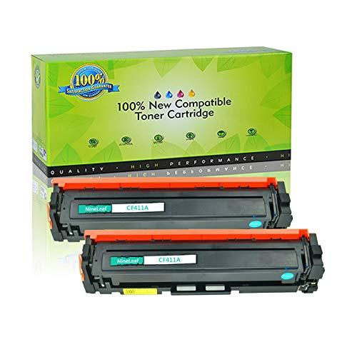 (NineLeaf 2PK CF411A Compatible For 410A Cyan Toner Cartridge High Yield Color LaserJet Pro M452nw M452dn M452dw Printer)