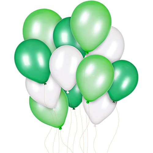 Jovitec 300 Pieces 12 Inch White Light Green and Dark Green Balloons for Birthday Wedding Party Spring Decorations, Dinosaur Party, Baby Shower, Jungle Jurassic Birthday Party Supplies