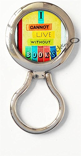 BlackKey I Cannot Live Without Books Magnetic Metal Eyeglass Badge Holder, Eye Glass Holding Brooch -594