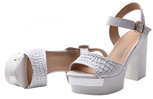 T&Mates Women's New Platform Leather Fashion Summer Heels Pumps(6 B(W) US, white)