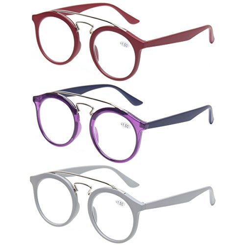 Reading Glasses 3 Pairs Retro Round Frame Women Readers Metal Nose bridge Vintage Eyeglasses (3 Mix Color, 1.50) ()