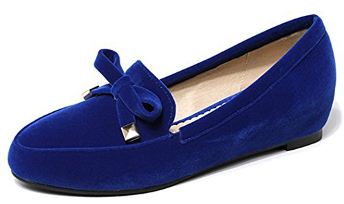 Women's Round Toe Flat Loafers Sweet Casual Shoes with Bow Blue - 1