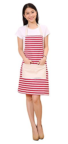 FSK Cotton Canvas Womens Apron with Convenient Pocket Durable Stripe Kitchen and Cooking Apron for Women Professional Stripe Chef Apron for Cooking,Grill and Baking (red and White)
