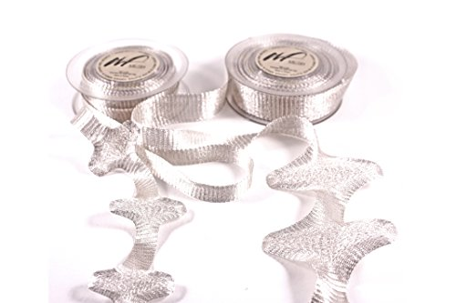 10m Ultra Fine Knitted Tarnish Resistant Copper Wire Mesh Ribbon for Wrapping, Floral Designs, Weddings, Accessories, Jewelry Making, Beading Craft DIY kit (Set of 2 spools of 5 Meters Mesh) (Silver) (Fancy Wedding Designs)