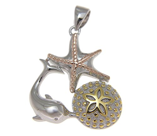 925 Sterling silver yellow rose gold tricolor plated Hawaiian sealife dolphin sand dollar starfish pendant