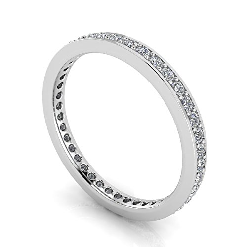 Jewelry Pop Up Shop Round Brilliant Cut Diamond Channel Pave Set Eternity Ring In Platinum (0.83ct. Tw.) Ring Size 4, 4MM Band