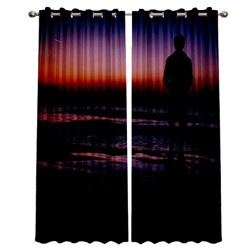 """Blackout Window Curtain Panels - 2 Panels Thermal Curtain Drapes Insulated Window Treatments for Bedroom Living Room Kitchen,Sunset Ocean Waves Beach Sand Seaside 52"""" x 72"""""""
