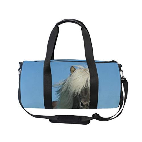 (MUOOUM Cool Horse White Hair Sports Gym Bag Travel Duffel Bag for Women and Men Luggage Handbag)