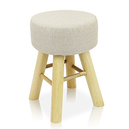 Round Mini Stool - DL furniture - Round Ottoman Foot Stool, 4 long Leg Stands Round ShapeRound Shape | Linen Fabric, Beige Cover