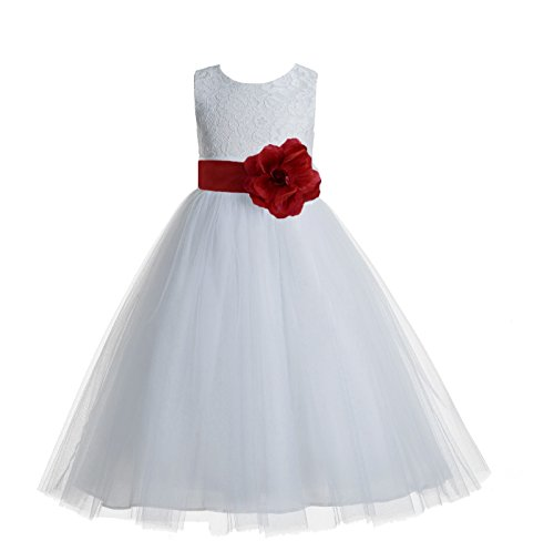 ekidsbridal Floral Lace Heart Cutout White Flower Girl Dresses Apple Red First Communion Dress Baptism Dresses 172T 12