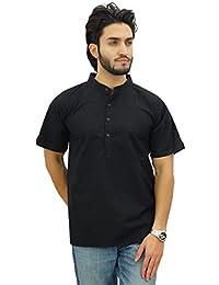 Atasi Men's Mandarin Collar Cotton Short Kurta Casual Ethnic Shirt