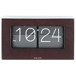 Karlsson Wall Clock, Rubber Wood, Dark, One Size
