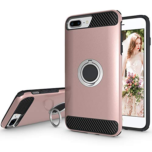 Ownest Compatible with iPhone 7 Plus Case,iPhone 8 Plus Case,iPhone 6 Plus Case with Armor Dual with Heavy Duty Protection and Finger Ring Kickstand Fit Magnetic Car Mount for iPhone-(Rose Gold-4)