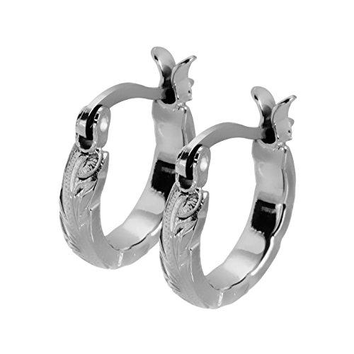 Hawaiian Hoop Earrings by Austaras - Set of Two Earrings for Women or Girls 925 Sterling Silver Plated 14mm Hypoallergenic 316L Stainless Steel Jewelry Plumeria Hibiscus Flower Gift Ready by Hawaiian Jewelry Austaras