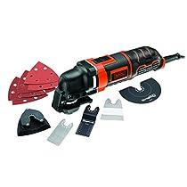 Black and Decker MT300KA-QS - Pack con multiherramienta oscilante, 5 acoplamientos y 6 hojas de lija, con cable, 230 V, 300 W, color negro y naranja