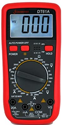 Sinometer DT61A, AC DC 20A Current Digital Multimeter with Temperature Measurement & Resettable Fuse