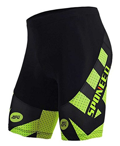 sponeed Men's Cycle Shorts Tights Biking Bicycle Bottoms Gel Padds Outdoor Cycling Chamois Pants Asia XXXL/US XXL Green - Outdoor Gel