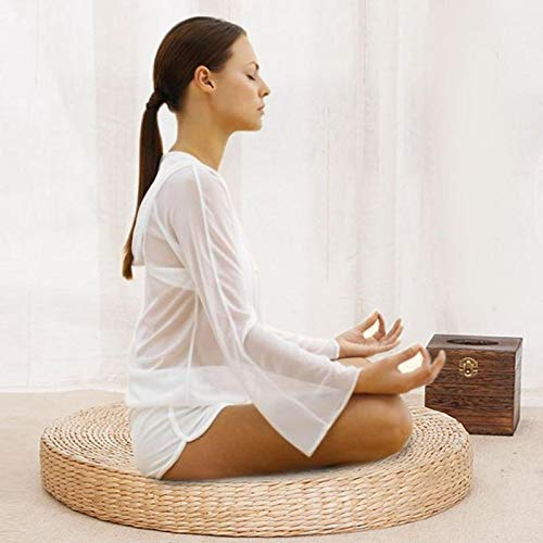 Cushion - 40cm Round Straw Meditation Soft Yoga Mat Pouf Tatami Cushion Floor Cushions - Pouf Round Decorative Pillow Rattan Rounded Insert Hook Cushion Deck Seat Exercise Neck Backpack Long Th
