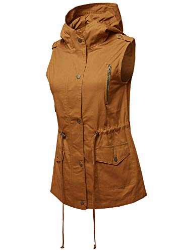 Chic Outerwear - Made by Emma Casual Zipper with Button Closure Military Drawstring Hoodie Vest Desert Mustard L