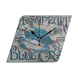 Flypo-Yoc Home Decor Clock Aa Chesapeake Bay Blue Crab Art Colorful Retro Roman Numerals Style Wall Art Decorative Kitchen, Living Room, Kids Room Coffee Decor