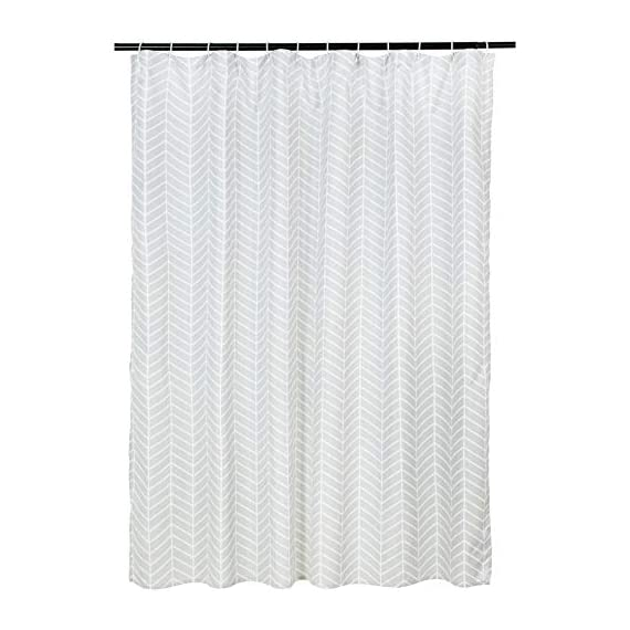 AmazonBasics Grey Herringbone Shower Curtain - 72 Inch - Stylish shower curtain with printed pattern Eye-catching print adds a distinctive look to your bathroom Built-in ring holes make installation easy (rings not included) - shower-curtains, bathroom-linens, bathroom - 412ooez viL. SS570  -