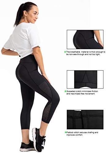 UURUN High Waist Yoga Pants Capri Workout Running Leggings with Pockets - Non-See-Through Fabric 4