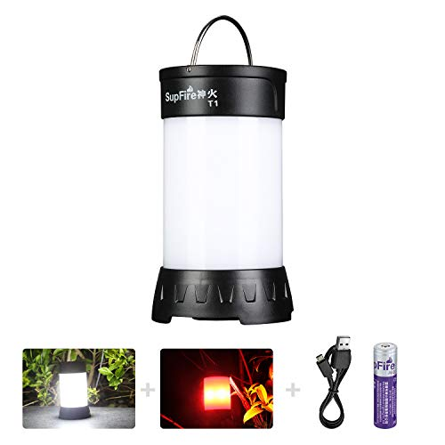 Supfire Rechargeable Camping Lantern,Super Bright 800 Lumens Pocket Camping Light with Magnetic Base and 18650 Battery Included Survial Lamp 5 Modes Best for Camping Hiking Indoor Outdoor