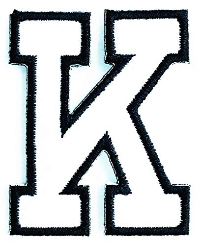 1.6X2 Inch White Letter K Kangaroo Letter English Character ABC Zoo K English Letter Patch Cartoon Children Kids Embroidered Applique Craft Handmade Baby Kid Girl Women Clothes DIY Costume Accessory. ()