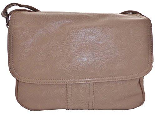 Schultertasche Handtasche Umhängetasche Shopper Damentasche hellbraun helltaupe