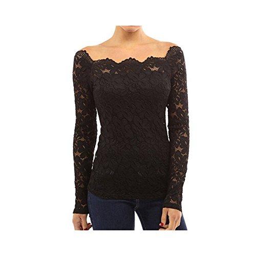記者単調なわずかなエレガント Tシャツ レディース 花 レース 透け 長袖 伸縮 M ブラック