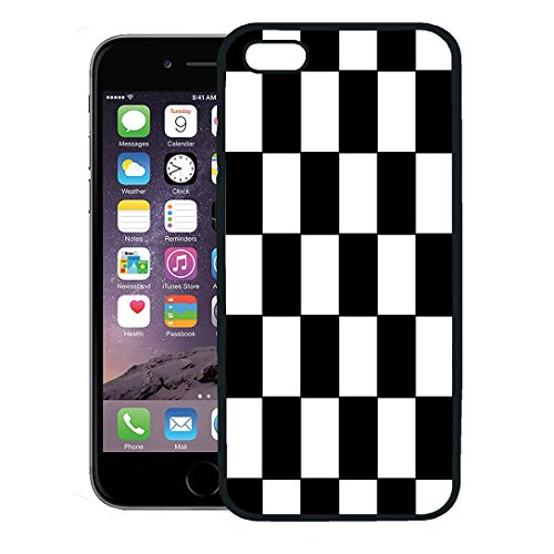 Semtomn Phone Case for iPhone 8 Plus case Cover,Checker Black and White Racing Checkered Pattern Flag Check Board,Rubber Border Protective Case,Black