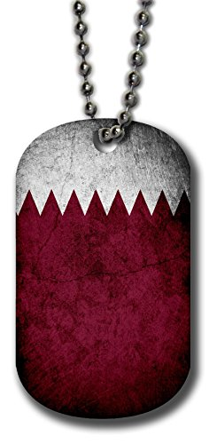 Aluminum Dog Tag Necklace and Key Ring - Flag of Qatar (Qatari) - Rustic