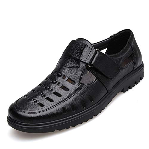 Zapatos 44 Negro Color Loop Zuecos Antideslizante Ahueca Mens Hook Sole tamaño Cloth Qiusa Soft Genuine Sandals EU hacia Fuera ZUOxH