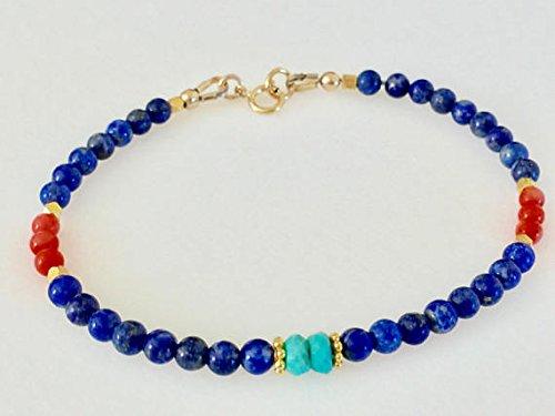 (JP_Beads Lapis Lazuli Bracelet, Sleeping Beauty Turquoise Bracelet, Coral Bracelet, Dainty Beaded Bracelet, 24K Gold Vermeil, September Birthstone 3 mm)