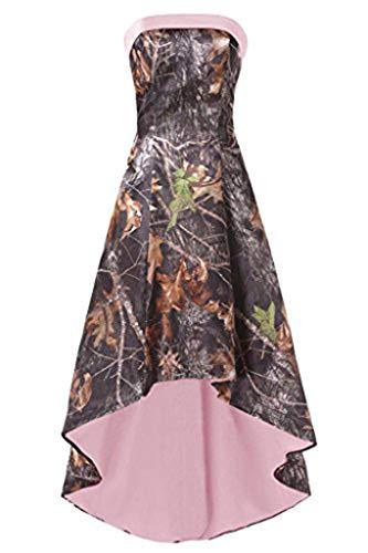 Ci-ONE High Low Homecoming Dress Short Camo Wedding Bridesmaid Dresses Pink, CS