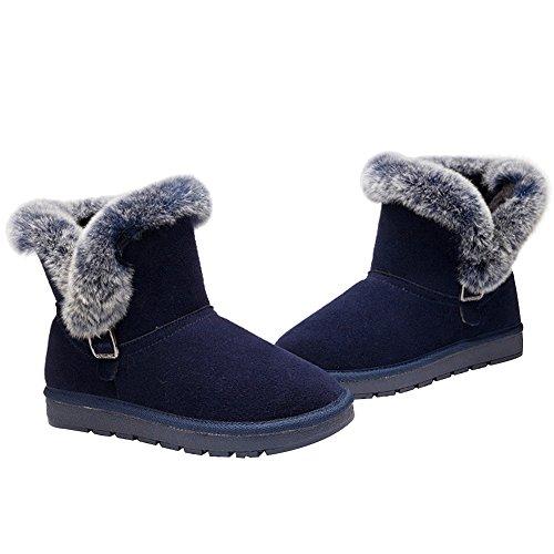 Winter Winter Pelz Blau Winterstiefel mit gefüttert für aus Leder rismart BXz0vdwq0