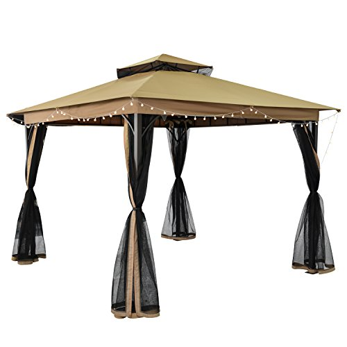 Gazebo Tiered Roof - SUNLONO 10 x 10 Ft Outdoor Fabric/Steel Gazebo 2-Tiered Top Canopy with Mosquito Netting Screen Walls, Beige