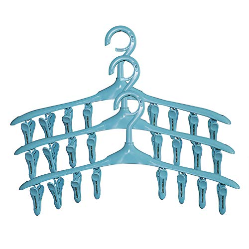 SUOWO Plastic Baby Hangers Coat Clothes Clip and Drip Laundry Swivel Hanger with 8 Clips Non Slip Space Saving for Drying Organizer Kids Infant Diapers Socks Adult Lingerie Pant 3 Pack (Sky Blue)