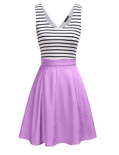 Omeya Womens Sexy Open Back Cocktail Slim Black White Striped Mini Dress L Lilac