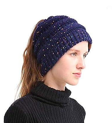 1582f09ed CC Quality Knit Messy Bun Hat Beanie