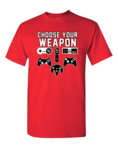 City Shirts Mens Choose Your Weapon Gamer Funny DT Adult T-Shirt Tee 2XL Red (XX Large, Red)