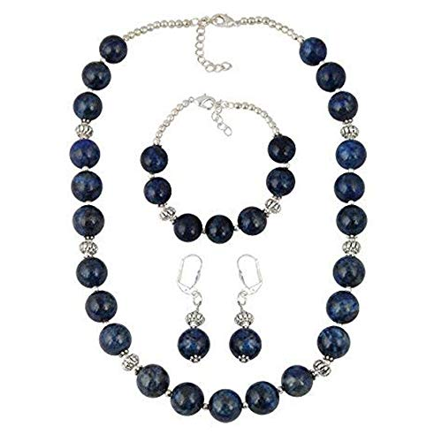 - Pearlz Ocean Earrings Bracelet Necklace made of Natural Blue Lapis Lazuli Beads Jewelry Set for Women