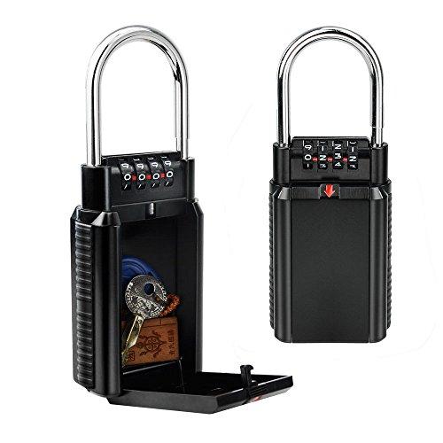 Allnice Key Storage Combination Lock Box Realtor Key Safe Box with 4-Digit Set Your Own Combination Padlock Alloy Steel Security Key Lock Box for Home Garage School Spare House Keys (Black)