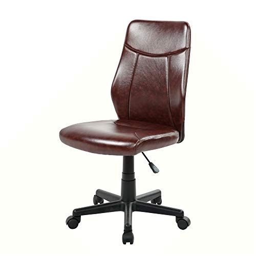 Eurostile Mid-Back Leather Desk Chair Swivel Conference Chair Adjustable Computer Chair Armless (Brown)
