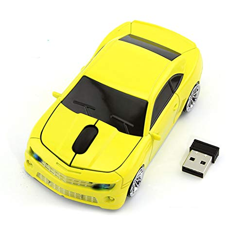 Car Mouse Wireless, FIRSTMEMORY 2.4G Wireless Sport Car Shaped Mouse Cool Optical Gaming Mouse Novelty Cordless Mice, 1600 DPI for PC Desktop Mac Laptop (Yellow)