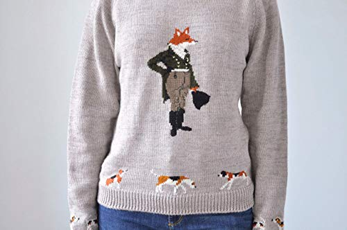 Animal sweater Fall knitwear Fox hunting hand knitted sweater Horse sweater Horse clothing English hunting handmade pullover