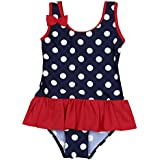 TiaoBug Girls Summer Beach One-Piece Polka Dots Floral Bowknot Swimwear Swimsuit