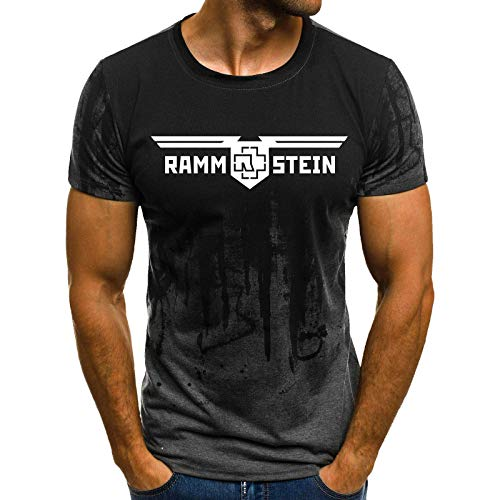 0809e9ed3d16 Womanloves Men's Fitness Printed Rammstein Camouflage T-Shirt Short-Sleeved Shirt  Round Neck Fashion